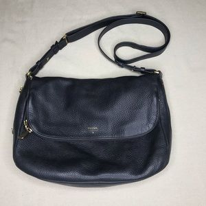 Fossil Black Pebble Leather Crossbody
